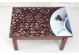 """Стол-трансформер Флай со стеклом """"Кофе"""" (Тёмный орех)"""