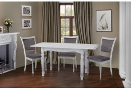 Стол обеденный Венеция (Белый + Патина Серебро)